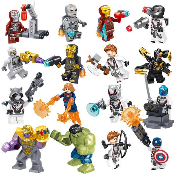 16pcs Avengers 4 End Game Super Hero Iron Man Hulk Rocket Thor Thanos Hawkeye Captain America War Machine Building Block Toy Figure Brick