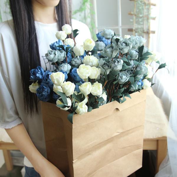 Artificial PE Fake Flowers Rose Floral Wedding Bouquet Bridal Hydrangea Decor Hot Sale Small Roses Wedding Party Home Decor