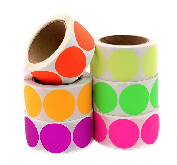 25mm 500pcs/roll 8 colors round blank adhesive sticker label colorful office memo hand writing label sticker in stock
