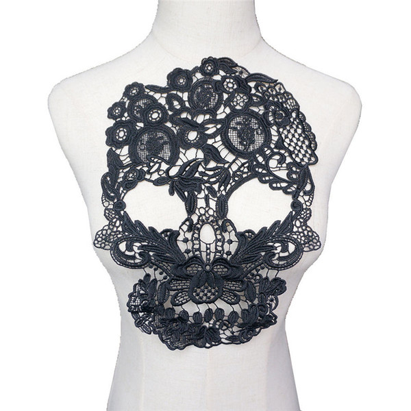 31 CM Preto Bordado Crânio Collar Apliques Gótico Punk Rock Lace Guarnições Costurar Patch Para O Vestido de Noite de Casamento DIY