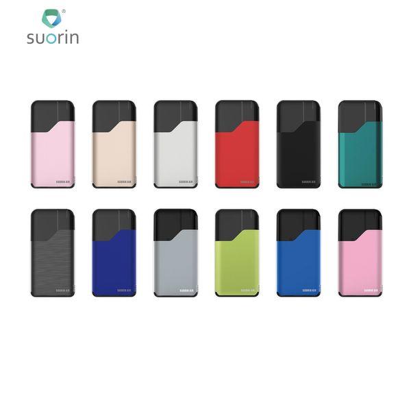Suorin Air Starter Kits 16W incorporado 400 mAh Batería y 2 ml Luz indicadora de cartucho Cigarrillo electrónico Ecigs Kit 10 colores 100% Authenti