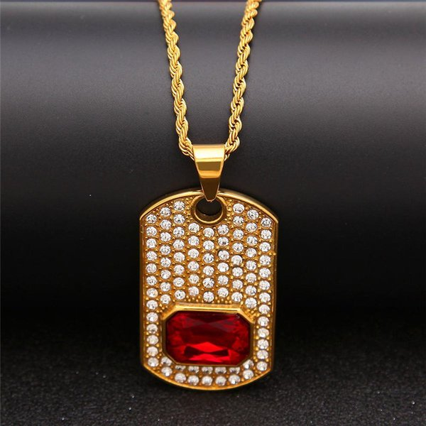Luxury 18K Gold Plated Chains Gem Pendant Necklace Hot Sales Fashion Hip Hop Necklaces Jewelry Ice Out Men Bling Cubic Zirconia Necklaces