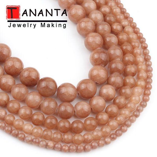 Brown Jades Perles rondes loose naturelles perles en pierre pour les bijoux et accessoires de bricolage Faire Bracelet Femme Collier 4 6 8 10 12 mm 15 « »