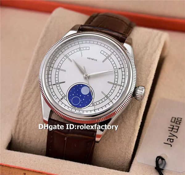 Hot RX 50535 MOONPHASE Japan 8215 Automatic Mens Watch 316L Steel White Dial Sapphire Brown Leather Strap Classic Designer Watches 39mm