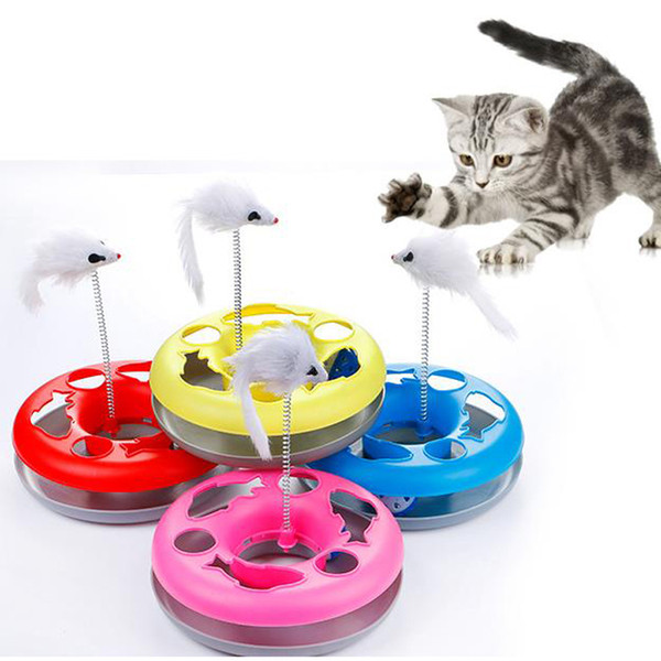 2019 New Cat Toy Amusement Intelligence Cat Toys Round Plastic Disk Mouse Interactive Toy with Funny Bell Ball Pet Play Products