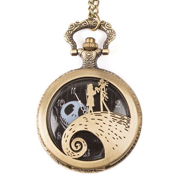 Big Retro Nightmare ghost Before Christmas pocket Necklace Pocket Watch Bronze Pocket Watch Men Women gift chain Watches