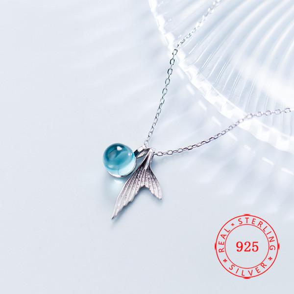 Heiße Verkaufs-populäre 2019 Tierfischendstückblasen-Sterlingsilber 925 hängende Halskette der Nixe für Frauenmädchengeschenk