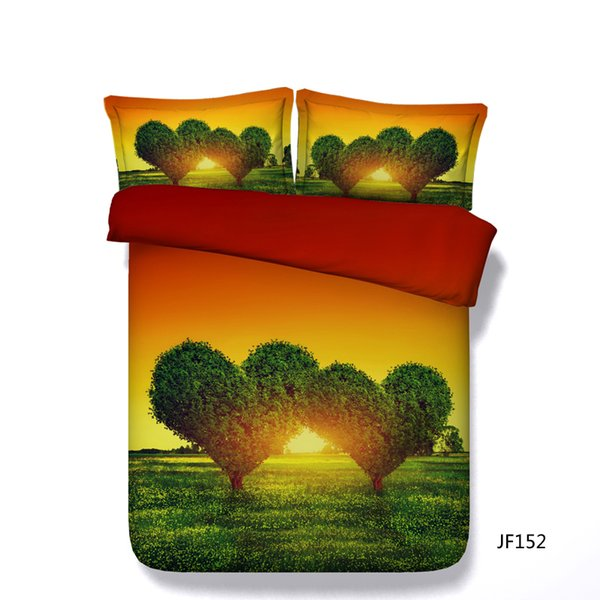 Heart Blooming With Tree Leaves Green Duvet Covers 3 Piece Bedding Set With 2 Pillow Shams Boys Girls Sunset Comforter Cover Romantic Love