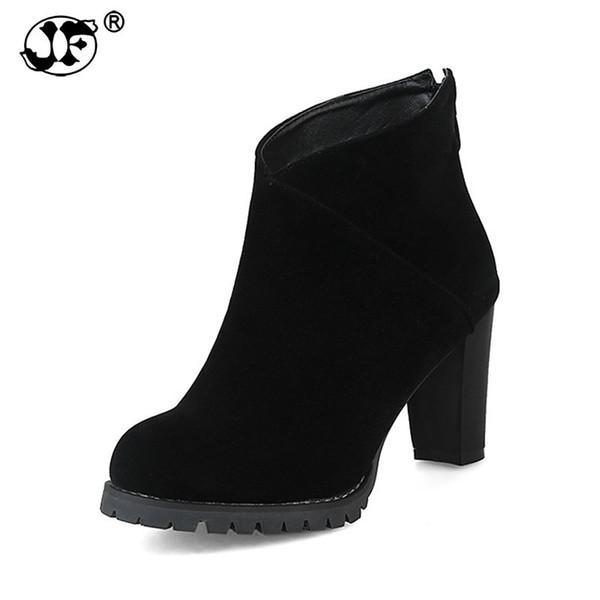 2018 large sizes 32-43 platform zip up women shoes woman high heels black ankle boots women yuj89