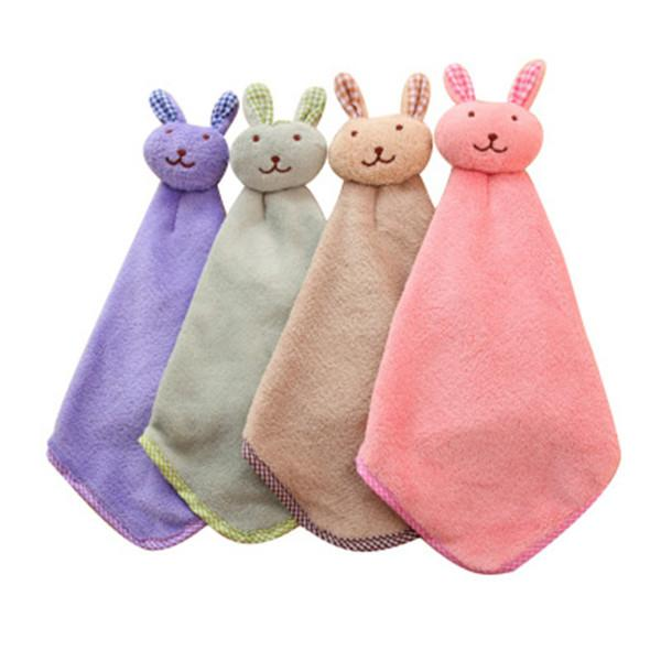 Cute Cartoon Small Rabbits Kitchen Face coral velvet hand towels hanging uptake wipe kitchen bathroom bibulous towel towel 1PCS