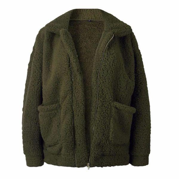 Teddy Coat Sweatshirt Fleece Fur Coat Women Autumn Winter Warm Soft Thick Plush Zipper Overcoat Short Outerwear Pocket