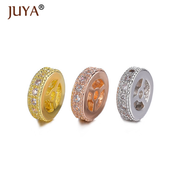 Wheels Spacers Beads For Diy Jewelry Making 10pcs mix Gold Silver Rose Gold Micro Pave CZ Rhinestone 8MM Spacer Bead Accessories