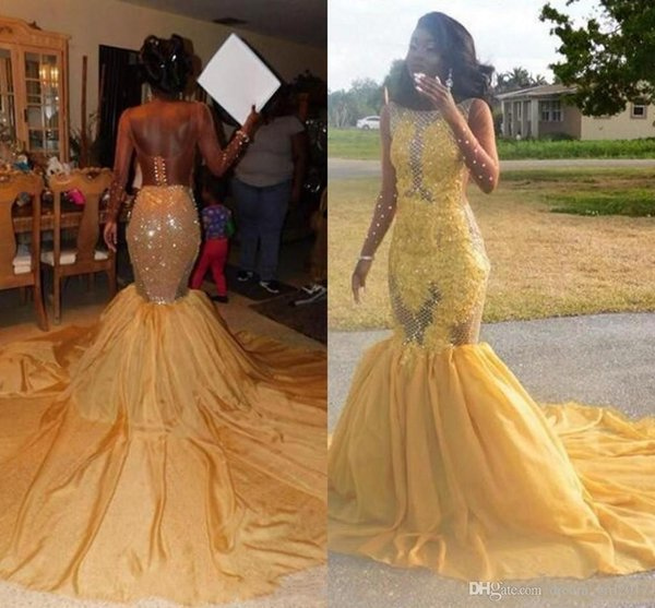 2019 Lace Mermaid Arabic Yellow Prom Dresses Sheer Neck Backless Beaded Evening Dresses Sexy Gorgeous Formal Party Bridesmaid Pageant Gowns