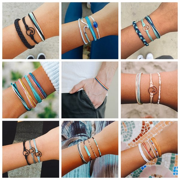 Rainbow Bohemian Fashion Woven Braided Rope Bracelet Set Wave Handmade String Friendship Bracelets for Women Men Jewelry