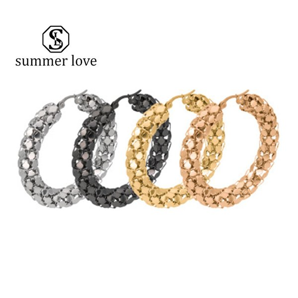 New Arrival Stainless Steel Hoop Earrings 30mm-50mm Exaggerated Large Personality Flat Chain Titanium Steel Round Earrings for Women