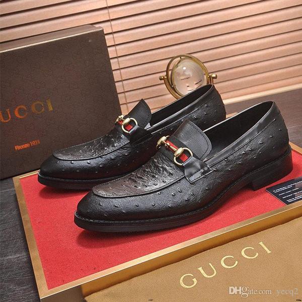 20FW luxe Souliers formels d'homme Été Mode Cuir Hommes d'affaires Chaussures plates Noir Respirant Bureau de travail formel Chaussures YETC0 TC0