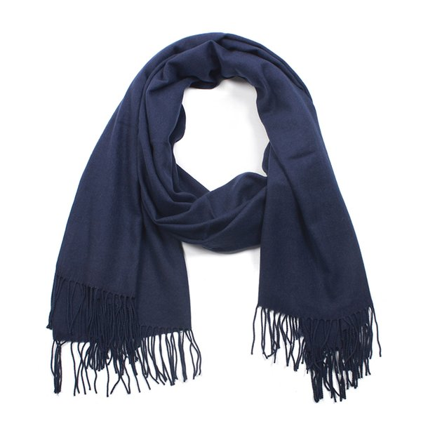 Women winter navy blue long tassel scarf high quality polyester viscose woven soft cashmere feeling wrap shawl for elegant lady