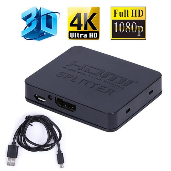 Ultra HD 4K 2K HDMI Splitter Full HD 3D 1080p Video Interruptor de interruptor HDMI 1X2 Split 1 en 2 Salida Amplificador Pantalla doble