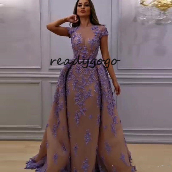 Lavender Champagne Evening Formal Dresses with Overskirt Sheer O-neck Full length Lace Applique Plus Size Prom Dress
