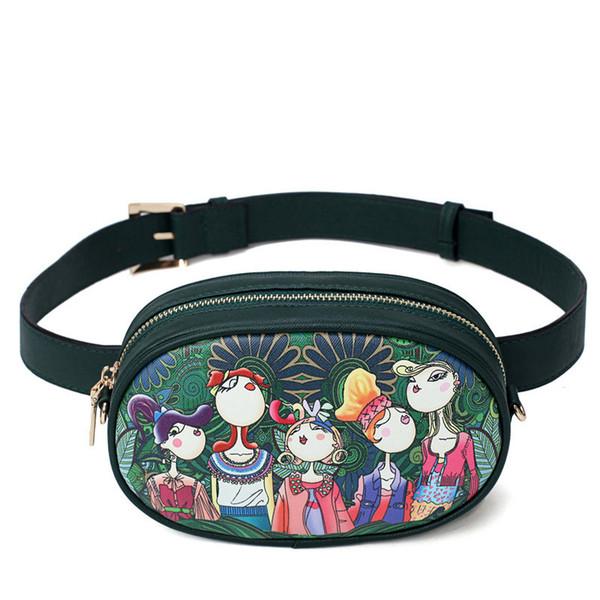 2019 Nuevo Diseñador de Cuero de LA PU Señoras de Dibujos Animados Verdes Bolsos de Cintura de Las Mujeres Cintura Fanny Paquetes Bolsos Crossbody Bolsos de Cadena de pecho