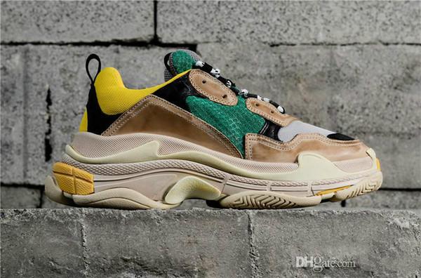 Diseñador de moda Paris 17FW Triple-S 2018 Triple S Sneaker Desi Luxury Dad Shoes para hombres, mujeres, Beige, negro, zapatos deportivos casuales 36-45