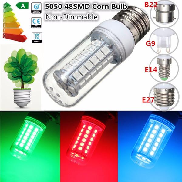 5050 SMD 48 LED Light Bulb E27/E14/G9/B22 3.5W Red/Green/Blue 300Lumen Energy Saving Plastic Lamp Bulb Non Dimmable AC 220V