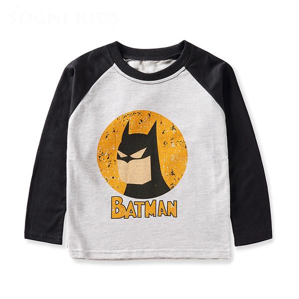 boy clothes cartoon mavel t shirt long sleeves 2019 spring 100% cotton casual kids top tees batman children clothing for 10 Year