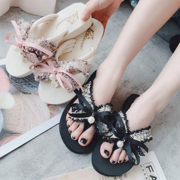 Concise Butterfly-knot Crystal Platform Outside Women Slippers Solid Beach Summer Flat Flip Flops Casual Fashion Women Shoes