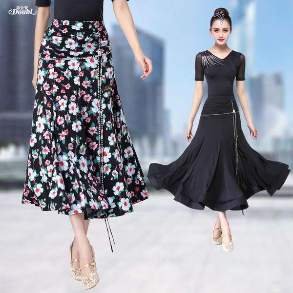 Doubl National Standard Nueva falda larga Mujer Señora Mujer Falda moderna Vestido de vals Tango Fiesta Moda Ropa de baile