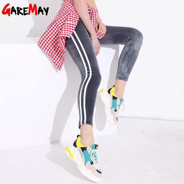Striped Slim Casual High Waisted Women Velvet Leggings White Stripe Stretch Pencil Pants Leggins Legging Femme Q190510