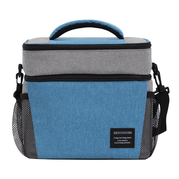 School Lunch Bag Leak Proof Office Picnic Adults Insulated Double-deck Zipper Soft Portable Teens Large Capacity Oxford Cloth