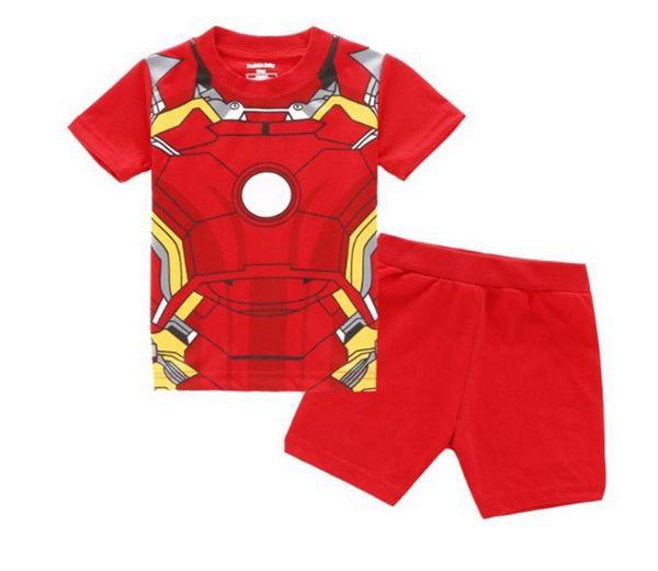 Bambini pigiama cartoon fashion design cool ragazzi Iron Man short e short pants baby boy sleepwear 100%