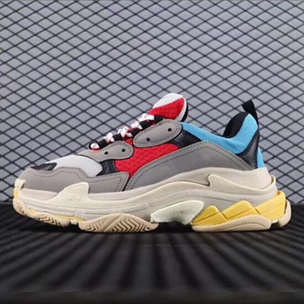 Balenciaga Ucuz Moda Paris 17FW Üçlü S Sneakers Üçlü-S Rahat baba Erkek Tasarımcı Ayakkabı Kadınlar için Bej Siyah Ucuz Spor Eğitmenler BU-1689