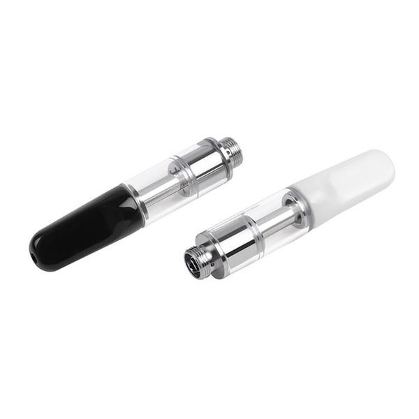 disposable ceramic thick oil cartridge 0.5ml vaping glass atomizer tank ceramic mouthpiece vaporizer flat tip honey oil o pen glass tank