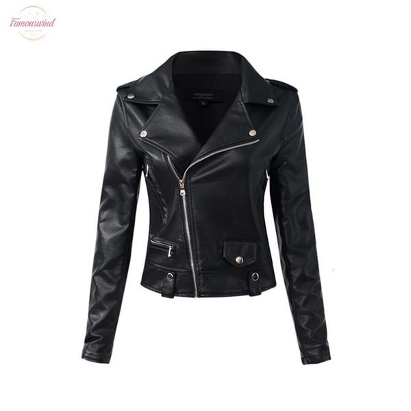 Casual Pu Deri Ceket Kadınlar Klasik Fermuar Kısa Motosiklet Ceketler Lady Sonbahar Kış Temel Deri Siyah ceket
