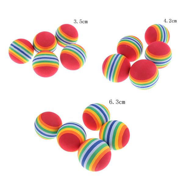 top popular EVA Rainbow Cat Dog Ball Pets Activities Funny Balls Kid Foam Sponge Balls EVA Elastic Pet Dog Toys 2021