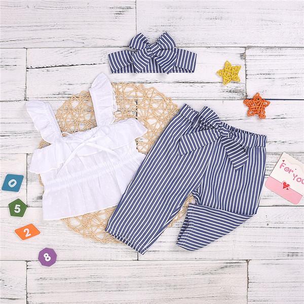 Sommermädchen-Kinderkleidung stellte Sleeveless Kaninchenohr-Riemenspitze + Blau gestreifte Hose + Bogen Stirnband 3pcs Sätze Kinderdesignerkleidung Mädchen JY372 ein