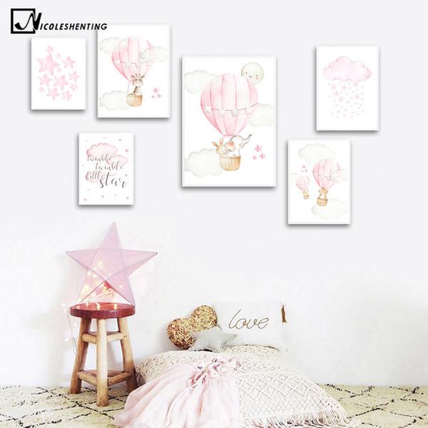 Decorazioni scuola materna del bambino della ragazza di arte della parete della tela di canapa Poster Pink Animale di palloncini di viaggio Stampa la pittura nordica del capretto del bambino Camera Immagine