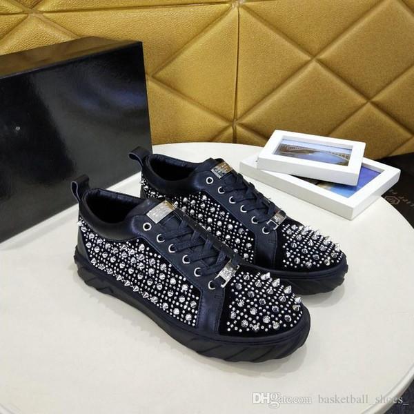 Großhandel Luxus Designer Philipp Plein Low Cut Wildleder Spike Sneakers Herren Führend Im Trend Schuhe Party Hochzeit Kristall Leder Chaussures Größe
