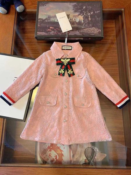 Kızlar elbise çocuklar tasarımcı giyim sonbahar yeni uzun kollu elbise tomurcuk ipek iplik astar pamuk elbise yay tasarım moda charm