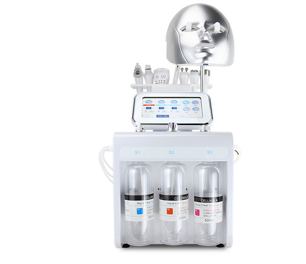 Multifunctional 8 in 1 bio rf cold hammer hydro microdermabrasion water hydra spa facial skin pore cleaning machine with led mask
