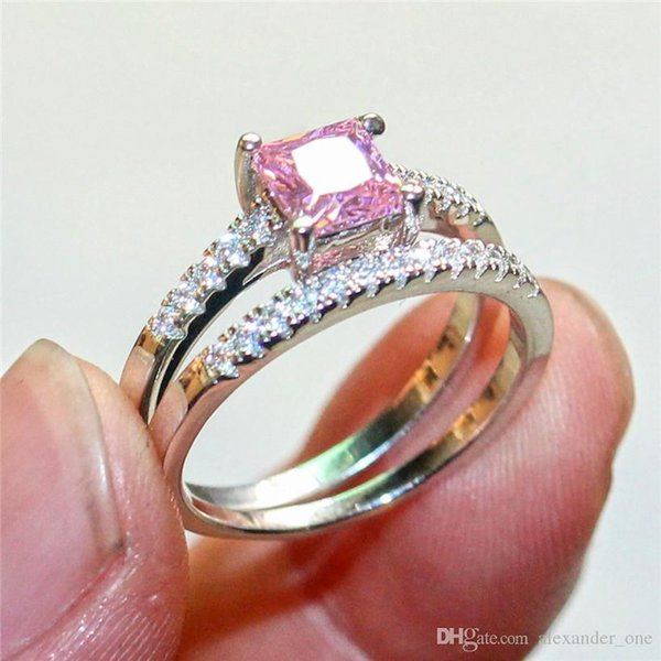 Fashion 10KT White Gold Filled Pink and White Square Diamond CZ gemstone Rings sets Wedding Bride Band Jewelry sert for Women 2-in-1