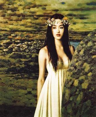 giovane ragazza cinese nuda in abito bianco nel paesaggio bella di alta qualità dipinta a mano HD stampa Wall Art pittura a olio su tela Multi dimensioni 176