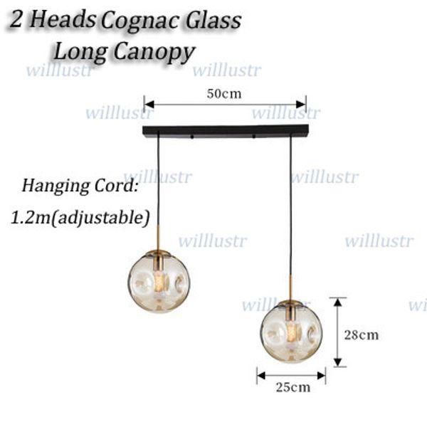 2 Teste di vetro Cognac lungo Canopy