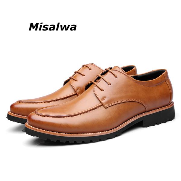 099e6aacd96 Misalwa 2019 Zapatos formales para hombre Zapatos de boda de cuero Vino  rojo Estilo simple Puntiagudo