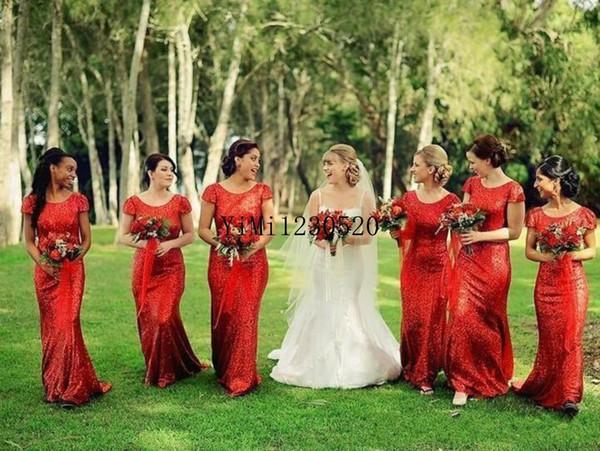 2019 Vermelho Lantejoulas Sereia Da Dama de Honra Vestidos Cap Luva Sem Encosto Jardim Do País Do Convidado Do Casamento Vestidos Formal Evening Party Dress Plus Size