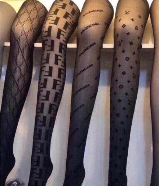 Sıcak Yeni Marka Kadın Çorap F Mektuplar Popüler Logo Külotlu Çorap Seksi Moda Çorap Siyah Renk parti Kız Kadınlar Için kulüp Kulübü Tayt çorap