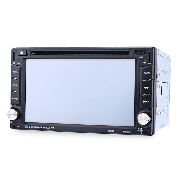 6202B 6.2 pouces Bluetooth V3.0 Radio auto Double Din Lecteur DVD de voiture Lecteur GPS Navigation Au tableau de bord Stéréo Vidéo Carte Mic Appel mains libres