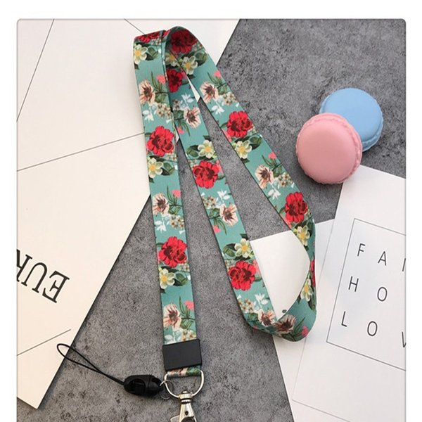 Lanyard for Keys New flower lanyard for iphone 7 Samsung Phones MP3 USB Flash Drives Keys Keychains ID Name Tag Badge Holders