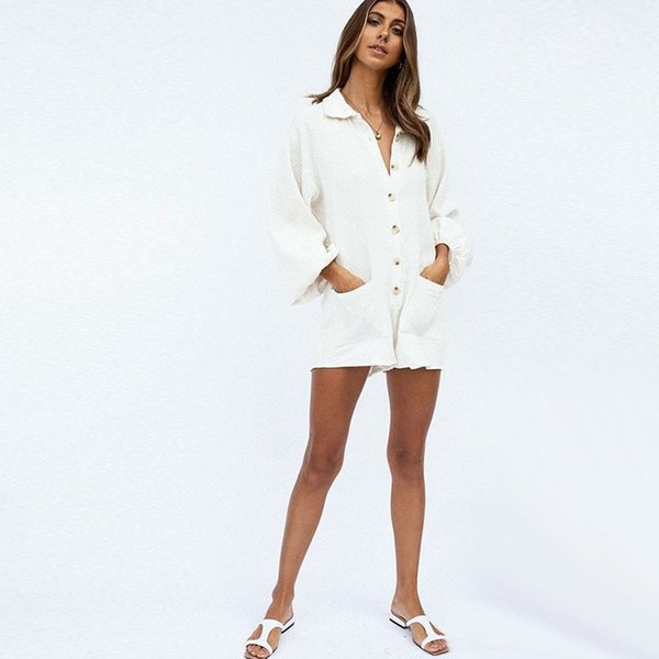 Casual Cotton Overalls For Women Elegant Solid White Turn-Down Collar Puff Sleeve Rompers Button Buttons Bandage Jumpsuits